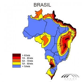 Mapa eólico Brasil de arcus global