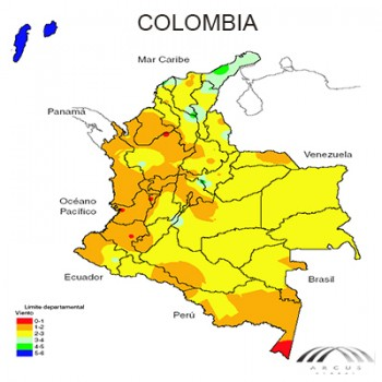 Mapa eólico Colombia de arcus global