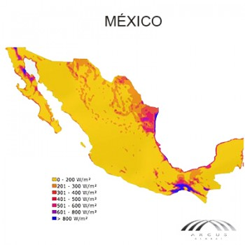 Mapa eólico Mexico de arcus global