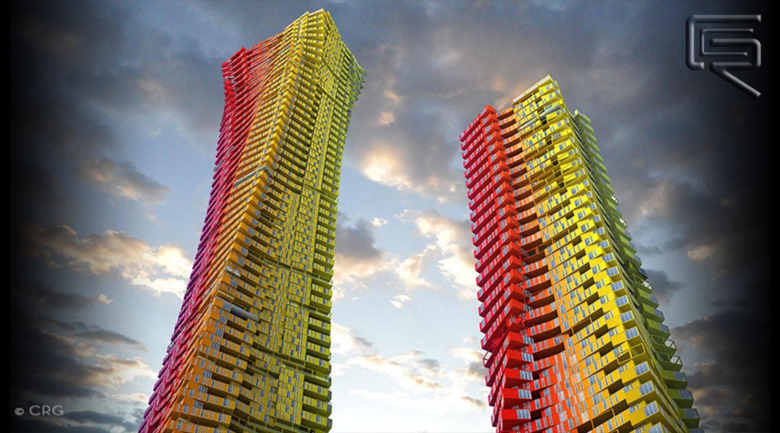 Rascacielos construido con contenedores