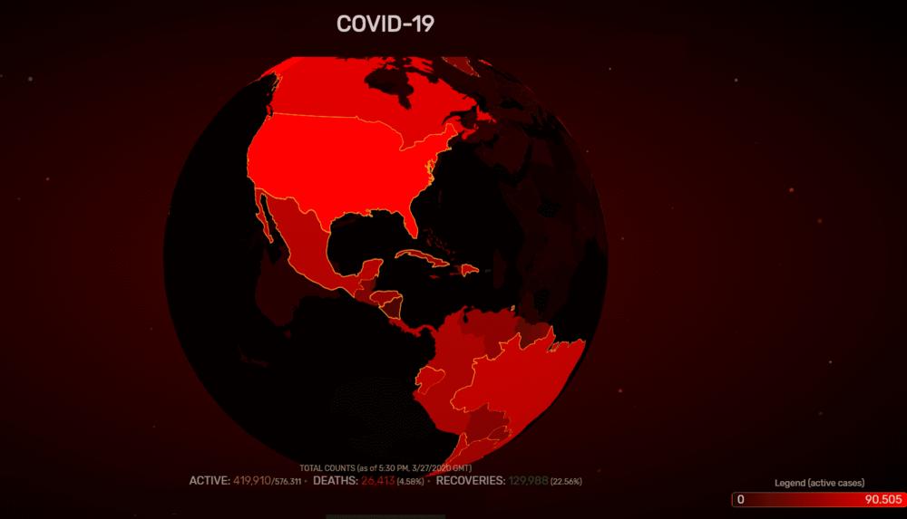 Mapa de contagio global por COVID-19